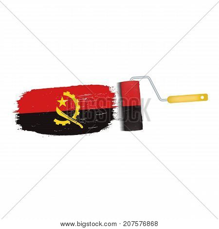 Brush Stroke With Angola National Flag Isolated On A White Background. Vector Illustration. National Flag In Grungy Style. Brushstroke. Use For Brochures, Printed Materials, Logos, Independence Day