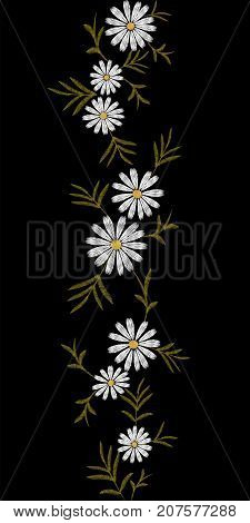 Embroidery trend floral pattern seamless border small branches herb white daisy flower. Ornate traditional folk fashion design neckline blossom on black background vector illustration art