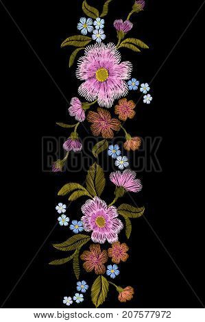 Embroidery trend floral seamless border small branches herb rose with little blue violet flower. Ornate traditional folk fashion patch design neckline blossom black background vector illustration art