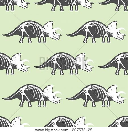 Dinosaurs skeletons silhouettes seamless pattern fossil bone tyrannosaurus prehistoric animal and jurassic monster predator dino vector flat illustration.. Reptile extinct paleontology old bones.