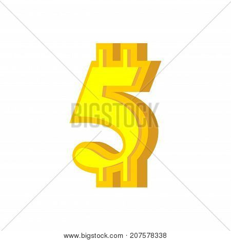 5 Numeral Bitcoin Font. Five Numeric Crypto Currency Alphabet. Lettering Virtual Money. Vector Illus