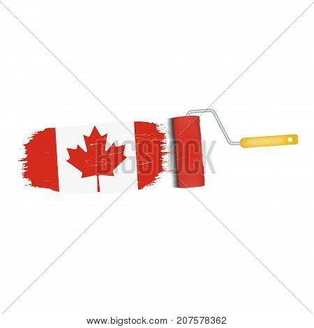 Brush Stroke With Canada National Flag Isolated On A White Background. Vector Illustration. National Flag In Grungy Style. Brushstroke. Use For Brochures, Printed Materials, Logos, Independence Day