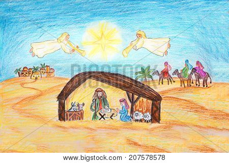 Hand Drawn Christmas Nativity Scene With Holy Family And Angels