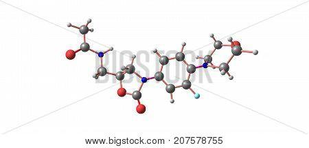 Linezolid Antibiotic Molecular Structure Isolated On White