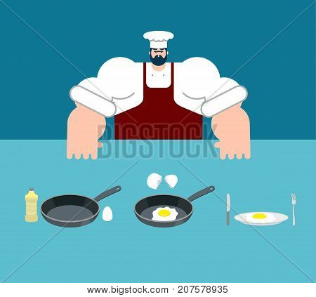 Scrambled Eggs Cooking Instruction. Chef Directions Omelet. Step By Step Food Instruction. Recipe Fo