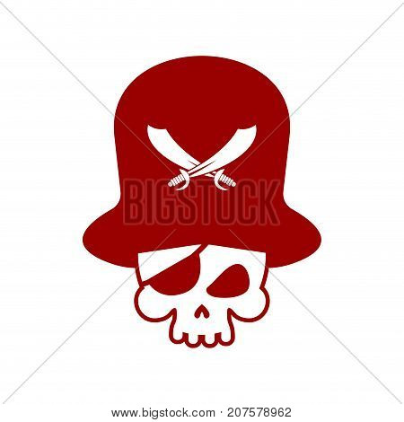 Pirate Skull Logo. Head Of Skeleton And Sabers. Pirate Symbol. Vector Illustration