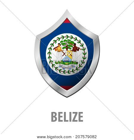 Belize Flag On Metal Shiny Shield Vector Illustration.