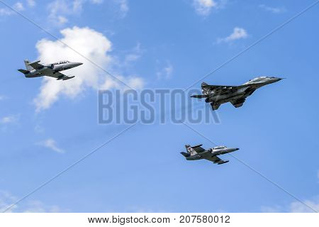 SLiAC SLOVAKIA - AUGUST 27: Air formation of one Mig-29 Fulcrum and L-159 Alca at airshow SIAF 2017 on August 27 2017 in Sliac