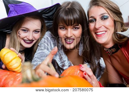Three young and beautiful women wearing funny party costumes while acting as witches joining their malicious forces at Halloween