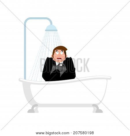 Paranoid. Crazy Boss In Bath. Mad Businessman In Shower. Vector Illustration