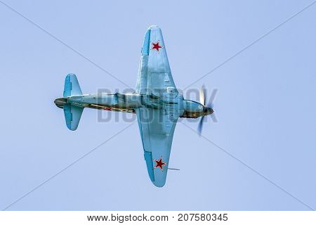 SLIAC SLOVAKIA - AUGUST 27: Soviet plane Yak-3 at airshow SIAF 2017 on August 27 2017 in Sliac