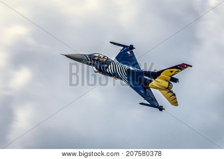 SLIAC SLOVAKIA - AUGUST 27: Airplane F-16 Falcon from Turkish air forceat airshow SIAF 2017 on August 27 2017 in Sliac