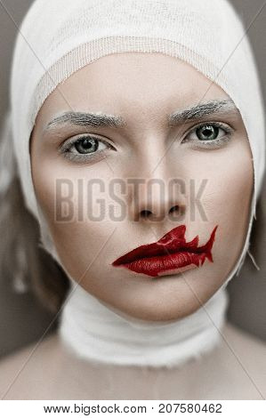 Girl With Bloody Fingers And Shark Lips. Halloween Horror Concept. Noisy Image. Grain Texture Is Add