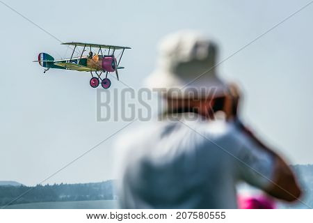 SLIAC SLOVAKIA - AUGUST 27: Biplane at airshow SIAF 2017 on August 27 2017 in Sliac