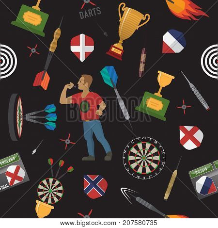 Darts pattern with items, elements, labels, icons, symbols, emblems, darts men, dart, arrow, dartboard, trophy shield for sport and leisure theme design. Vector illustration art