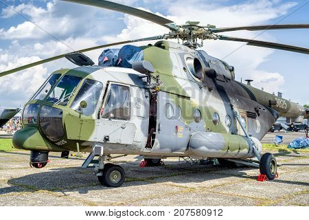 SLIAC SLOVAKIA - AUGUST 27: Helicopter Mil Mi-17 at airshow SIAF 2017 on August 27 2017 in Sliac