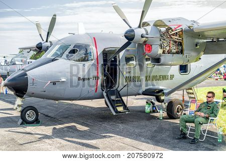 SLIAC SLOVAKIA - AUGUST 27: Polish airplane PZL M28 Skytruck at airshow SIAF 2017 on August 27 2017 in Sliac