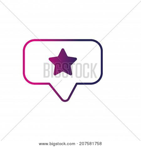 line chat bubble with star design inside vector illustration
