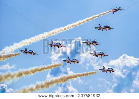 SLIAC SLOVAKIA - AUGUST 27: Aerobatic display team Al Fursan and Zoltan Veres at airshow SIAF 2017 on August 27 2017 in Sliac