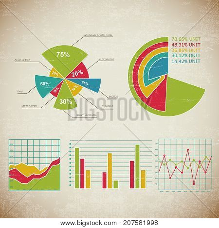 Vintage chart set infographic with different types of charts and for different business assessments vector illustration