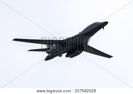 SLIAC SLOVAKIA - AUGUST 27: Bomber B-1 Bone Lancer at airshow SIAF 2017 on August 27 2017 in Sliac