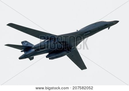 SLIAC SLOVAKIA - AUGUST 27: Bomber B-1 Lancer at airshow SIAF 2017 on August 27 2017 in Sliac