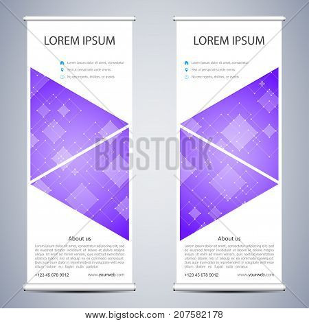 Abstract Roll up banner for presentation and publication. Science, technology and business templates. Square linear digital texture, technological and scientific concept, vector illustration