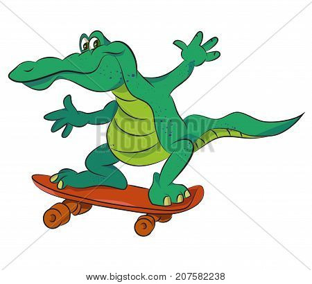 Crocodile on skateboard, cartoon image. Artistic freehand drawing. Authentic cartoon.