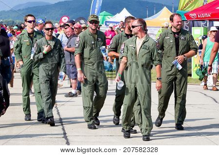 SLIAC SLOVAKIA - AUGUST 27: Pilots on runway at airshow SIAF 2017 on August 27 2017 in Sliac