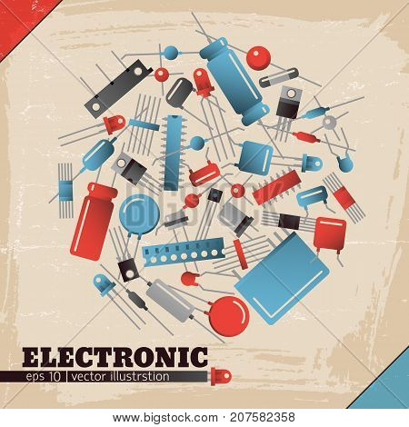 Colorful transistors of different shape on textured industrial electronic background with blue and red corners flat vector illustration