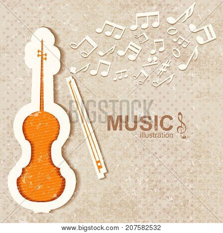 Colorful textured music background with orange violin bow and white notes flat vector illustration