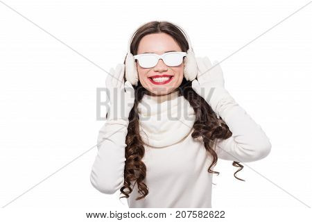 Woman In Winter Clothes Wearing Sunglasses