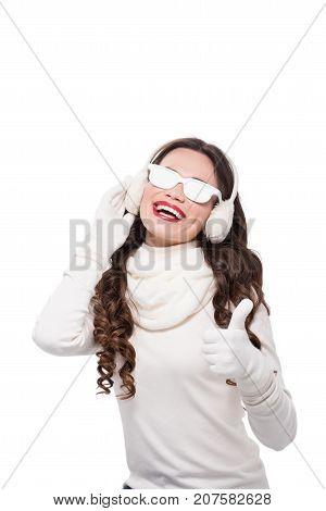 Woman In Winter Attire Wearing Sunglasses