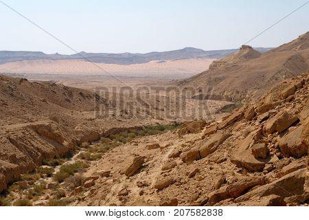 Dry riverbed in Negev desert in Israel.