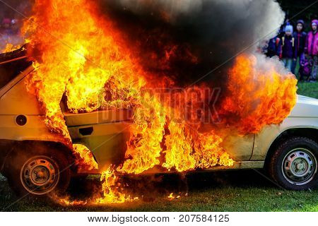 RUZOMBEROK SLOVAKIA - SEPTEMBER 9: Demonstration of a burning car on September 9 2017 in Ruzomberok