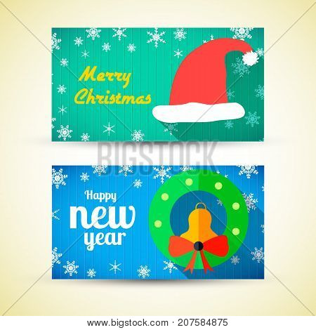 Greeting horizontal banners with Santa Claus hat jingle bell bow and snow in flat style vector illustration