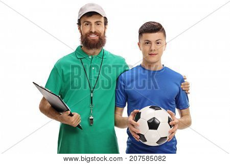Soccer coach and a teenage player with a football isolated on white background