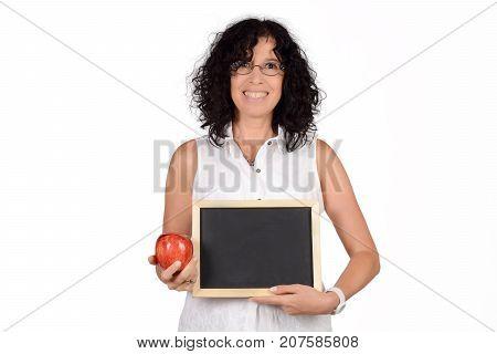 School Teacher Holding Chalkboard.