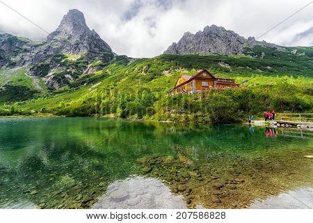 VYSOKE TATRY SLOVAKIA - SEPTEMBER 5: Mountain cottage Chata pri Zelenom plese on September 5 2017 in Vysoke Tatry