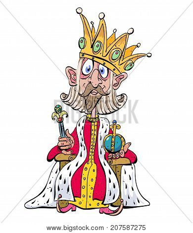 Silly king funny cartoon image. Artistic freehand drawing. Authentic cartoon.