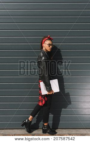 Stylish African American Girl With Laptop