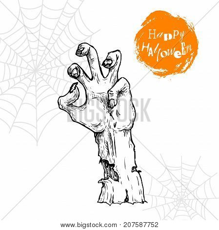 Hand drawn sketch zombie hand sticking out from the ground. Halloween undead rise symbol. Design element for party posters and flyers. Vector illustration isolated on spiderweb background.