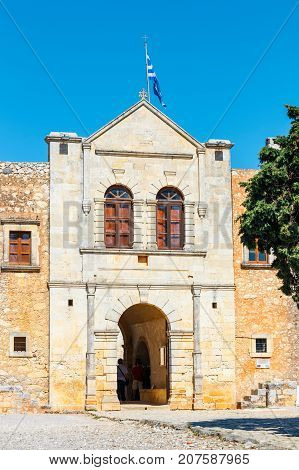 Arkadi, Crete, June 10, 2017: Arkadi Monastery Situated At The Southeast Of Rethymnon, Crete, Greece