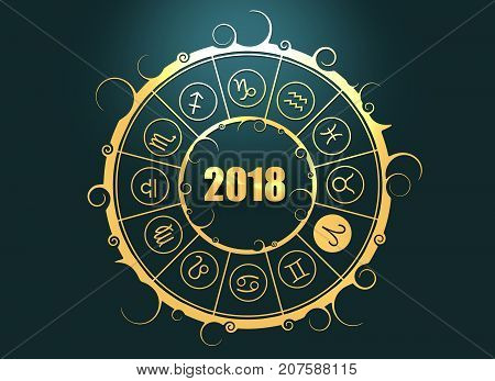 Astrological symbols in the circle. Aries sign. New Year and Christmas celebration card template. Zodiac circle with 2018 new year number. 3D rendering