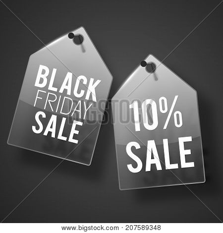 Two dark gray nailed down to the wall sale tag set with black friday sale description vector illustration
