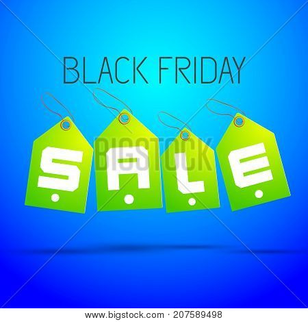 Four green sale tag set with headline black friday shadowed on light blue background vector illustration