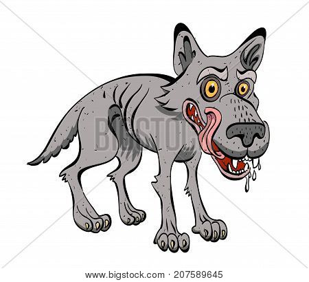 Hungry wolf cartoon image. Artistic freehand drawing. Authentic cartoon.