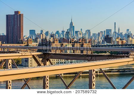 View Of Nyc Midtown From Brooklyn Bridge, New York, Usa