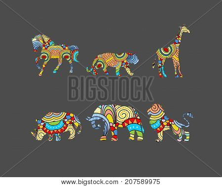 Vector illustration of six animals with ornaments