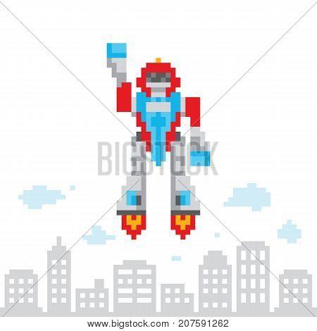 Pixel art style cartoon flying robot vector illustration